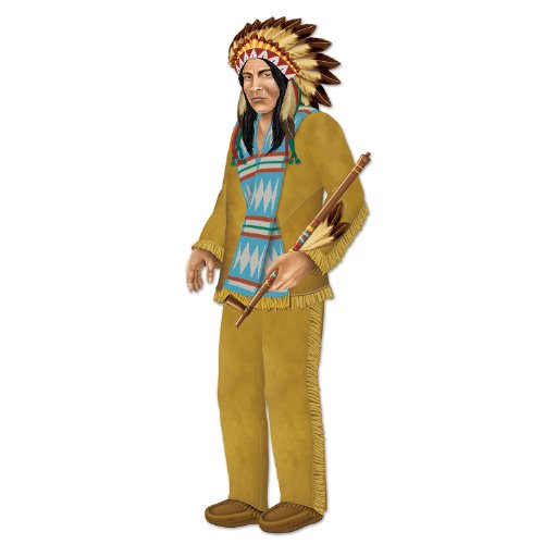 Beistle 1-Pack Decorative Indian Chief Jointed Figure, 3-Feet 1-1/2-Inch