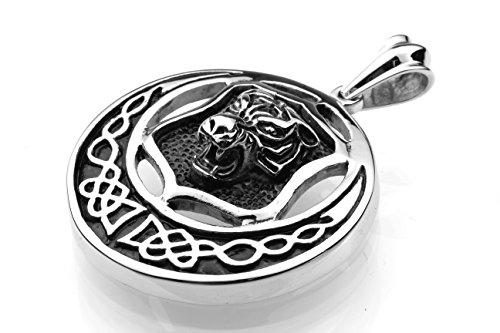 Tempi di consegna 6-12 giorni - Ciondolo in acciaio inox Ciondolo in acciaio inox amuleto leone tigre cacciatore gatto Wildcat Uomini NUOVI