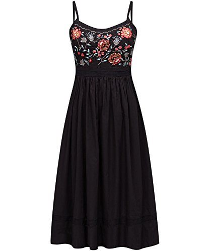 Joe Browns Women's Chao Pescao A-Line Floral Sleeveless Dress, Black, 14