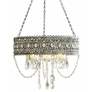 Simple Midwest CBK Greywash Beaded Hanging Candle Chandelier