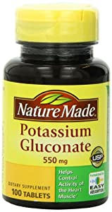 Nature Made Potassium Gluconate 550mg, 100 Tablets (Pack of 3)