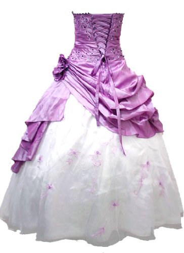 Faironly M37 Strapless Prom Dress Stock (XL, Lilac & White)