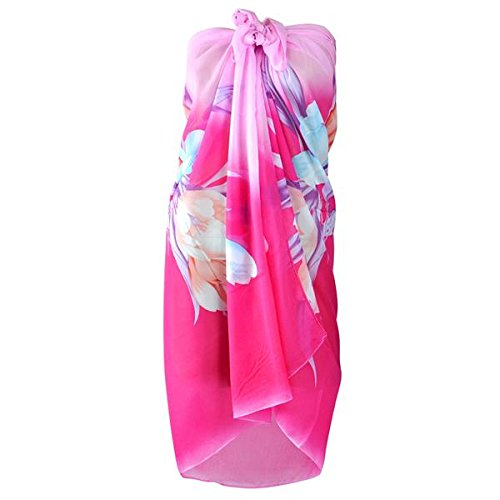 tinkertonk Chiffon Sarong/ Wrap/ Beach Cover Up/ Scarf /Sun Summer Swimwear Pareo Dress(Pink)