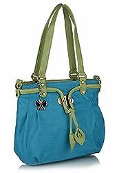 Butterflies Women's Handbag(Blue And Green,Bns 0385)