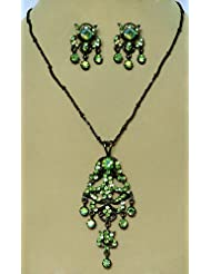 Green Zirconia Stone Studded Necklace With Black Chain And Earrings - Stone And Metal