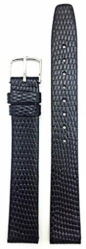 16Mm Long Round Lizard Grain, Flat, Black Watch Band