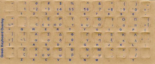 Greek Keyboard Stickers - Labels - Overlays With Blue Characters For White Computer Keyboard