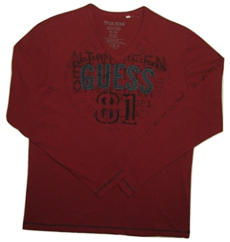 Guess Men's Long Sleeve Logo Embroided V-Neck T-Shirt, Havana Red, XL