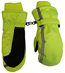N\'Ice Caps Kids Thinsulate and Waterproof Reflector Ski Mittens (2-3 Years, Neon Yellow)
