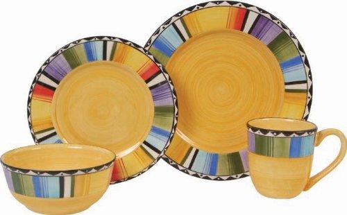 Gibson Fandango 16-Piece Dinnerware Set, Gold/Various