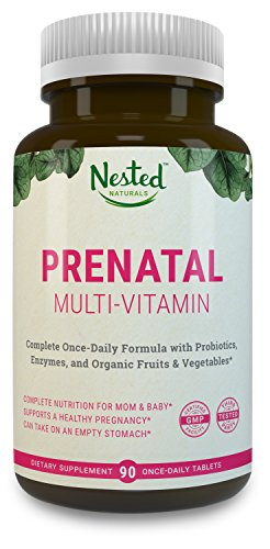 Once-Daily-Prenatal-Multivitamin-w-Probiotics-Methylfolate-Organic-Fruits-and-Veggies-Enzymes-Choline-Full-Trimester-90-Tablets-Non-GMO-No-Soy-Made-in-USA-Contains-Organic-Ingredients