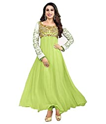 Shree Hans Creation Parrot Georgette Anarkali Dress Material