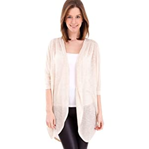 Oatmeal Ladies Marled Texture Tapered Half Sleeve Sheer Cocoon Cardigan