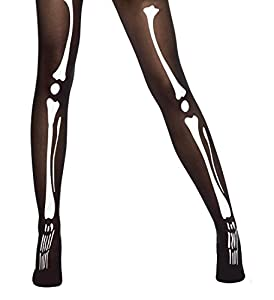 Black Tights With Bone Printing