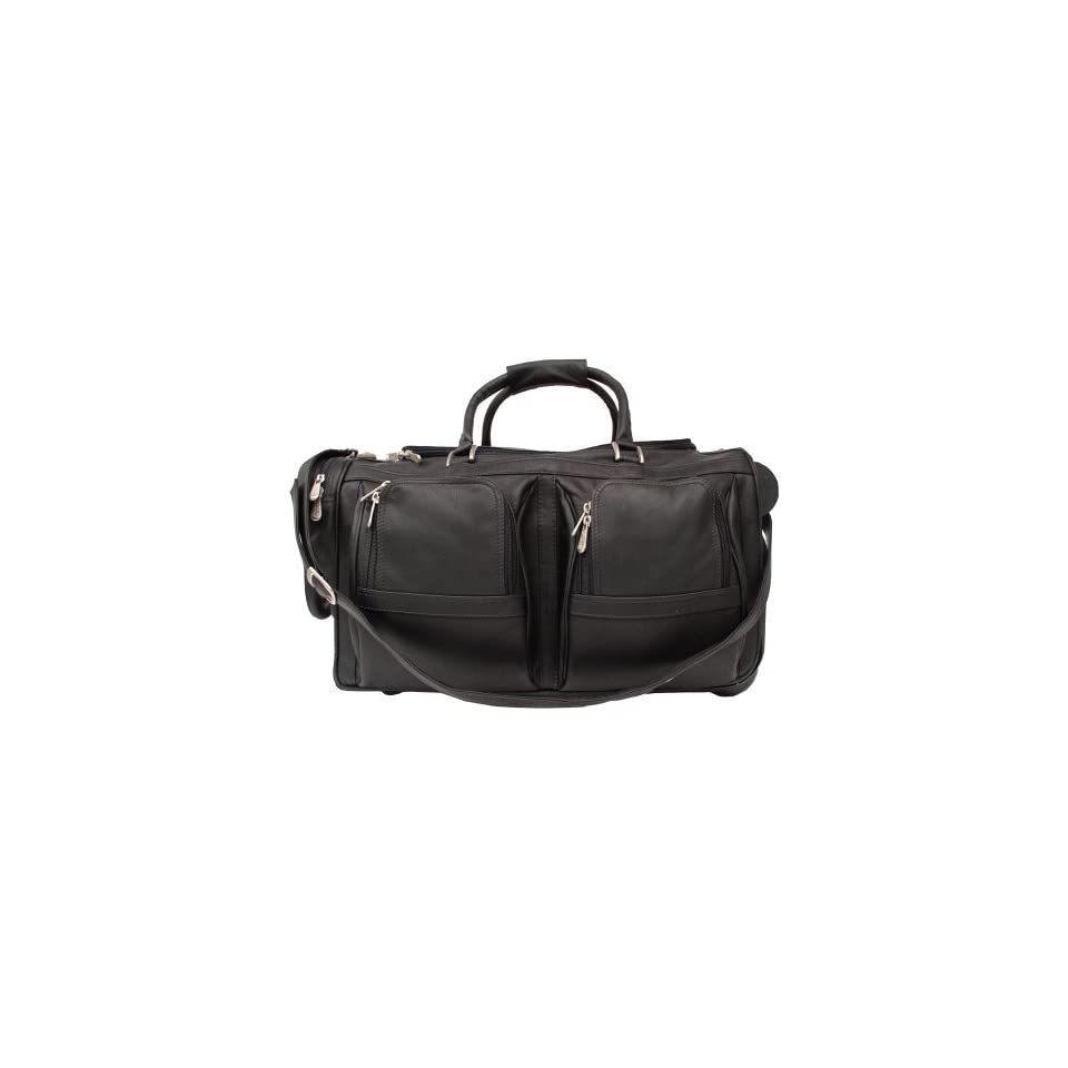 Piel Leather Duffel with Pockets On Wheels, Black, One Size