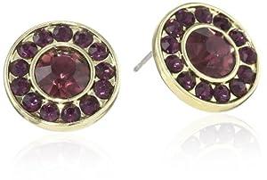 """1928 Jewelry """"Festive"""" Gold-Tone Amethyst Button Earrings"""