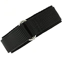 Watch Band Nylon One Piece Wrap Sport Strap Black Adjustable Velcro 22 millimeter