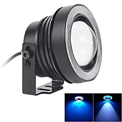 See 67MM 10W LED 7000K Cool White Fog Light and Ice Blue Angel Eye Rings DRL DIY Bulb for Car (DC 12V-24V) Details