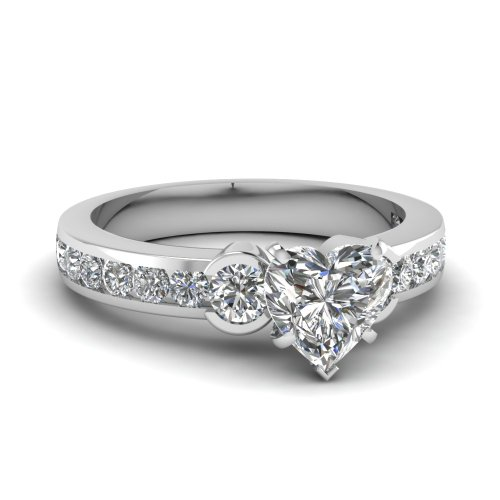Fascinating Diamonds 1.20 Ct Heart Shaped Very Good Cut Diamond Engagement Ring Channel Set Vs2 Gia