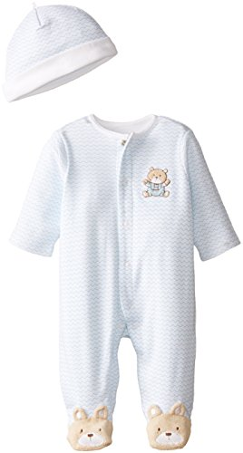 Little Me Baby Boys' Chevron Teddy Bear Footie, Light Blue, Newborn