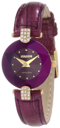 Jowissa Facet Strass Women's Quartz Watch with Purple Dial Analogue Display and Purple Leather Strap J5.015.S
