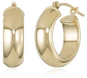 Duragold 14k Yellow Gold Half Round Hoop Earrings