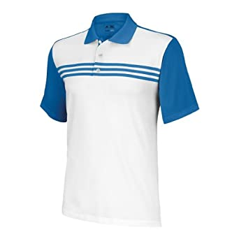 Adidas Golf 2013 Mens ClimaCool 3-Stripes Blocked Polo Shirt - White/Black - S