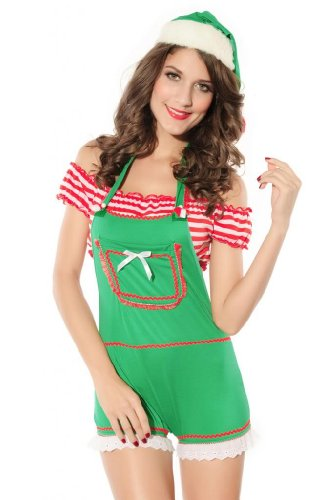 Dear-lover Women's 3PC Enticing Elf Christmas Costume