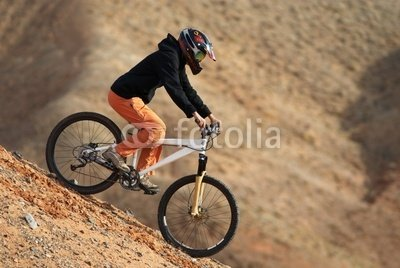 "Wallmonkeys Peel and Stick Wall Decals - Girl Downhill on Mountain Bike - 36""W x 24""H Removable Graphic"