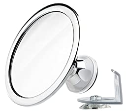 Klassy Home 360 Degree Adjustable Rotating Arm Fogless Shower Mirror with Suction Locking, Razor Hook and Tweezers