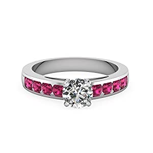1.25 Ct Round Diamond With Pink Sapphire Gemstone Engagement Rings 14K Gold GIA (G Color, VS1 Clarity)