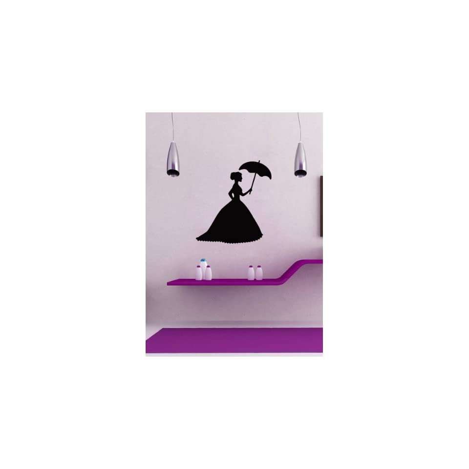 Housewares Wall Vinyl Decal Girl Silhouette with Umbrella Home Art Decor Kids Nursery Removable Stylish Sticker Mural Unique Design for Any Room
