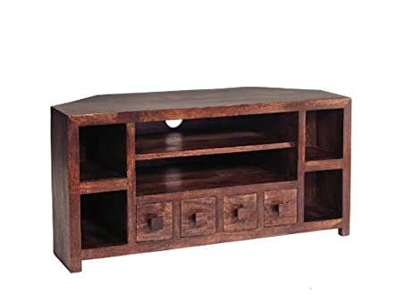 ML10 Ajak Mango Range - Mango Dark Wood Corner Tv Uint - Deep Walnut - Solid Indian Hardwood - No Assembly Required
