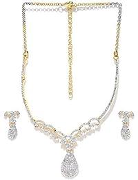 Zaveri Pearls Sparkling CZ Diamond Floral Pattern Necklace Set- ZPFK5426