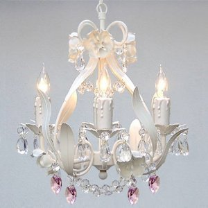 white iron crystal flower chandelier lighting w pink