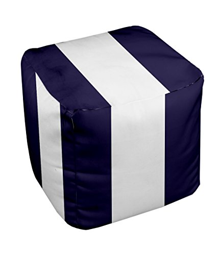 E by design Stripe Pouf, 13-Inch, 3Spring Navy