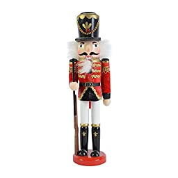 Handmade Nutcracker Soldier Guard Rifle Wood Nut Cracker Decoration (B)