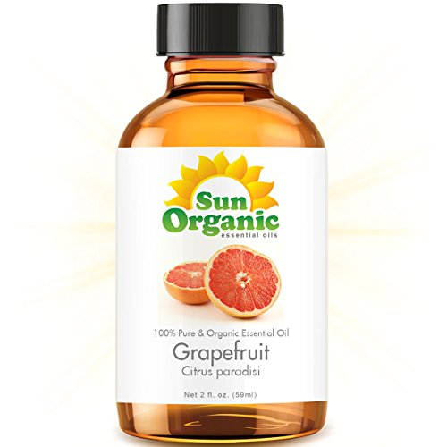 Organic Grapefruit (2 Fl Oz) Essential Oil 100% Pure -- Best 2 Ounces (59Ml) -- Sun Organic