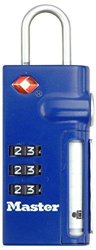 Master Lock 4693EURDBLU Lucchetto TSA, Porta-Indirizzo Retraibile, Blu, 20 mm