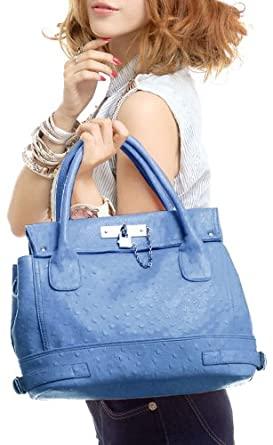 Chic Office Tote Soft Leatherette Embossed Ostrich Double Handle Satchel Handbag Shoulder Bag w/Detachable Strap