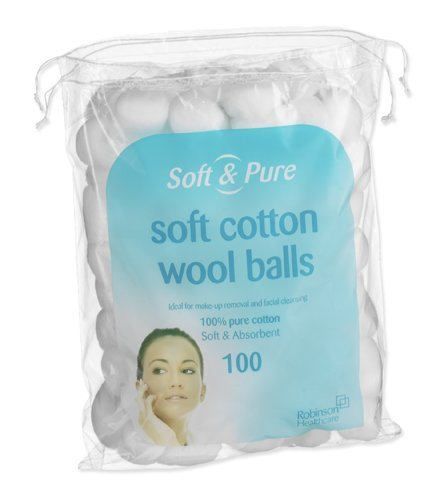 Soft and Pure Soft Cotton Wool Balls - Pack of 100