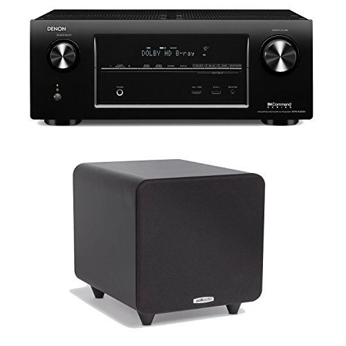 Denon Avr-X3000 In-Command 7.2-Channel 4K Ultra Hd Networking Home Theater Receiver Plus A Polk Audio Psw111 300-Watt Powered Subwoofer
