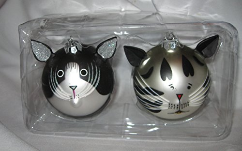 set-of-2-cat-face-round-glass-ornaments
