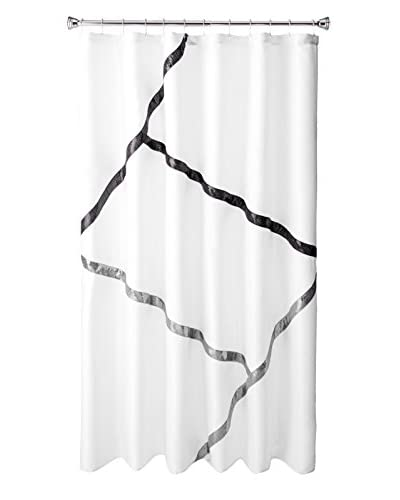 Palace Linens Unity Shower Curtain, Black/White/Gray