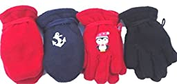 Four Pairs Fleece Very Warm Gloves and Mittens for Infants Ages 0-12 Months