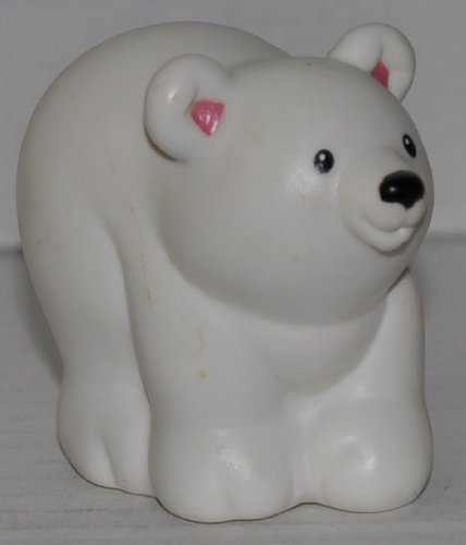 Little People Polar Bear (2001) - Replacement Figure Accessory - Classic Fisher Price Collectible Figures - Loose Out Of Package & Print (OOP) - Zoo Circus Ark Pet Castle - 1