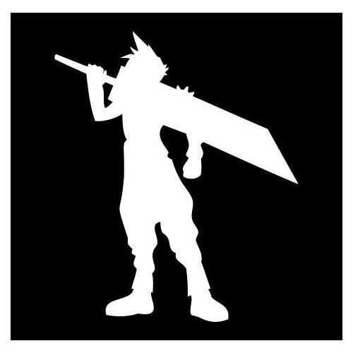 "2x) 7"" Final Fantasy VII Cloud Strife Silhouette Logo Sticker Vinyl"