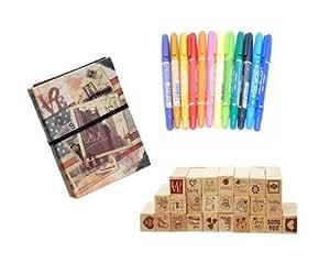DIY Bundle Set 12 Pcs Ink Card Making Color Pens, 25 Pcs Love Diary DIY Wood Rubber Stamp Set, DIY Fuji Photo Book Album for Fujifilm Instax Mini Films and any other photos - USA