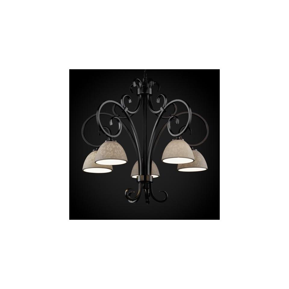 Justice Design Group POR 8575 30 LEAF ABRS Limoges Collection Victoria 5 Downlight Chandelier