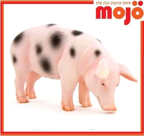 Mojo Fun 387093 Black Spotted Boar Pig - Realistic Farm / Ranch / Barnyard Animal Toy Replica